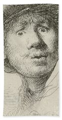 Self-portrait With Beret And Wide-eyed, 1630 Hand Towel