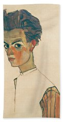 Self-portrait With Striped Shirt Bath Towel