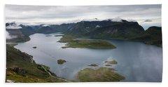 Selfjord And Torsfjord From Volandstinden Hand Towel by Aivar Mikko