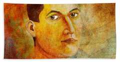Hand Towel featuring the painting Selfportrait Oil by Alexa Szlavics