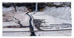 Bath Towel featuring the photograph Seljalandsfoss Waterfalls In Winter, Iceland by Pradeep Raja PRINTS