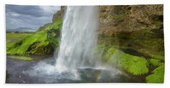 Seljalandsfoss With Rainbow, Iceland Hand Towel