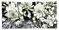 Sempervivum - Ebony And Ivory  Bath Towel by Janine Riley