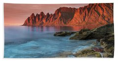 Senja Red Hand Towel by Alex Conu