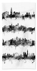 Seoul, Beijing, New York And London Custom Skyline Collection Hand Towel
