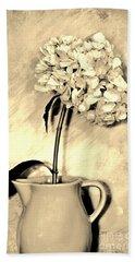 Sepia Antique Creamer With Hydrangea Hand Towel