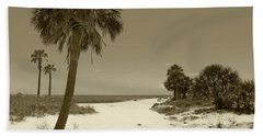 Bath Towel featuring the photograph Sepia Beach by Jeanne Forsythe