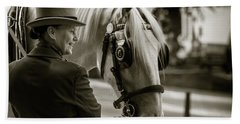 Sepia Carriage Horse With Handler Hand Towel