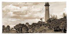 Sepia Lighthouse Hand Towel