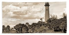 Sepia Lighthouse Bath Towel