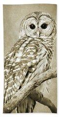 Sepia Owl Bath Towel