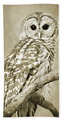 Sepia Owl Bath Towel