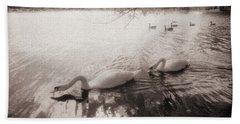 Sepia Swans Bath Towel