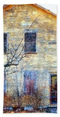 Hand Towel featuring the photograph September's Gone - Yellow Farmhouse Windows by Janine Riley