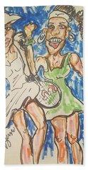 Serena And Venus Williams Hand Towel by Geraldine Myszenski
