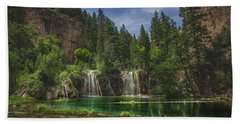 Serene Hanging Lake Waterfalls Hand Towel