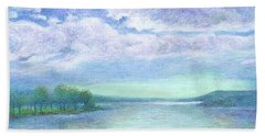 Hand Towel featuring the painting Serenity Blue Lake by Judith Cheng