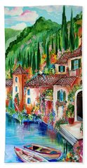 Hand Towel featuring the painting Serenity By The Lake by Roberto Gagliardi