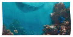 Serenity - Hawaiian Underwater Reef And Manta Ray Bath Towel