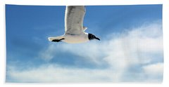 Bath Towel featuring the photograph Serenity Seagull by Marie Hicks