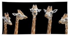 Seven Giraffes With Different Facial Expressions Hand Towel