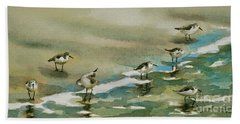 Seven Sandpipers At The Seashore  Hand Towel