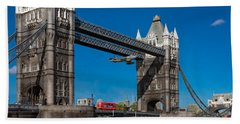 Hand Towel featuring the photograph Seven Seconds - The Tower Bridge Hawker Hunter Incident  by Gary Eason