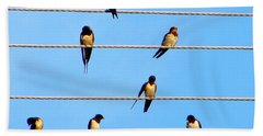 Hand Towel featuring the photograph Seven Swallows by Ana Maria Edulescu