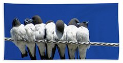 Seven Swallows Sitting Hand Towel