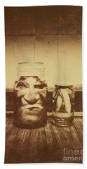 Severed And Preserved Head And Hand In Jars Bath Towel