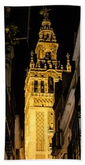 Seville - The Giralda At Night  Bath Towel