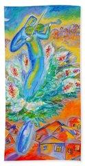 Shabbat Shalom Bath Towel by Leon Zernitsky
