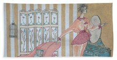 Shabby Chic -- Art Deco Interior W/ Fashion Figure Hand Towel