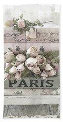 Paris Shabby Chic Pastel Paris Books Roses - Paris Shabby Cottage Watercolor Roses Bath Towel