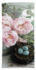 Shabby Chic Peonies With Bird Nest Robins Eggs - Summer Garden Peonies Hand Towel