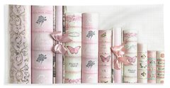 Hand Towel featuring the photograph Shabby Chic Pink Books Collection - Paris Pink Books Art Prints Home Decor by Kathy Fornal