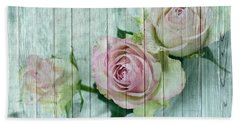 Shabby Chic Pink Roses On Blue Wood Hand Towel