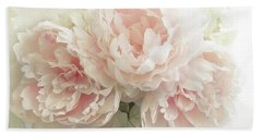 Bath Towel featuring the photograph Shabby Chic Romantic Pastel Pink Peonies Floral Art - Pastel Peonies Home Decor by Kathy Fornal