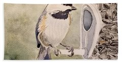 Shades Of Black Capped Chickadee Bath Towel