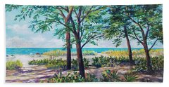 Hand Towel featuring the painting Shades Of Longboat Key by Lou Ann Bagnall