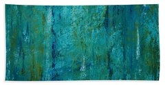 Hand Towel featuring the painting Shades Of The Sea by Tamyra Crossley