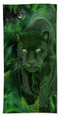 Bath Towel featuring the mixed media Shadow Of The Panther by Carol Cavalaris