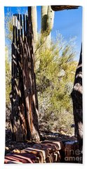 Hand Towel featuring the photograph Shadows In The Hot Desert by Lawrence Burry