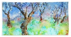 Sunlight And Shadows In The Olive Grove, Bath Towel