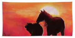 Bath Towel featuring the painting Shadows Of The Sun by Karen Kennedy Chatham