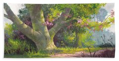 Hand Towel featuring the painting Shady Oasis by Michael Humphries