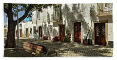 Shady Street In Tavira, Portugal Hand Towel