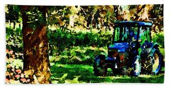 Bath Towel featuring the painting Shady Tractor by Angela Treat Lyon
