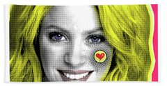 Shakira, Pop Art, Pop Art, Portrait, Contemporary Art On Canvas, Famous Celebrities Hand Towel by Dr Eight Love