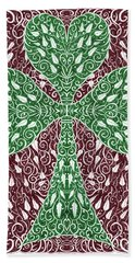 Shamrock With Leaves Hand Towel by Lise Winne